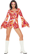 RETRO SWIRL HIPPY fancy dress costume 60's 70's parties M/L size 12 - 14
