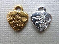 Metallanhänger Herz Made with love Charm 12 mm 20 - 100 Stück 1261