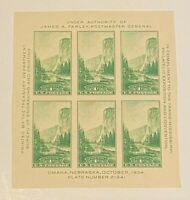 US Scott #769 Yosemite 1¢ (1935) Farley Souvenir Sheet of 6 MNH IMPERFNGAI