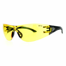 Protective Safety Glasses Rimless Wrap Around Shatterproof Black, Yellow lens