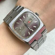 Vintage Watch SLAVA Tank TV Dial Calendar Purple USSR Automatic Soviet Serviced