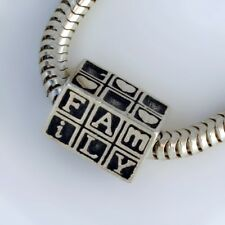 FAMILY - heart - love - Solid 925 sterling silver European charm bead