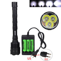 Rechargeable 3T6 9000Lm 3x XML T6 LED Tactical Flashlight Hunting Light 3*18650