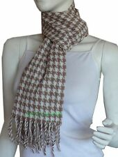 100% Cashmere Houndstooth Long Fringe Winter Scarf Shawl Wrap/Camel&Cream