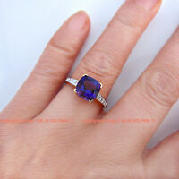 Real Genuine Natural Diamonds Amethyst Solid 9ct Gold Engagement Wedding Rings