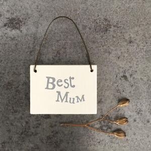 East of India BEST MUM Tiny Miniature Wooden Sign Gift tag Gorgeous keepsake