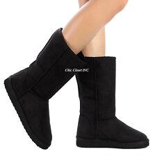 Womens Mid Calf Tall Boots Faux Suede Shearing Fur Winter Snow Flat Warm NEW