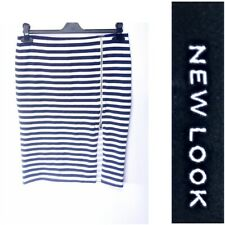 NEW NEW LOOK UK 14 NAVY AND WHITE STRIPED ELASTIC WAIST PENCIL SKIRT #25