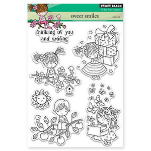 New Penny Black SWEET SMILES Clear Stamp Mimi Girl Boy Birthday Butterfly Flower