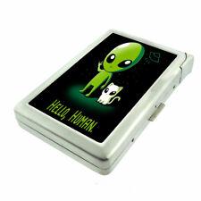 Alien Cat Human Em1 Cigarette Case with Built in Lighter Metal Wallet