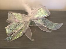 LARGE SILVER WHITE CHRISTMAS TREE GIFT BOW FEATHERS ORGANZA GLITTER DECORATION
