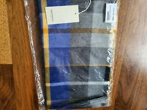 Sunspel Extra Fine Merino Wool Blue Check Scarf
