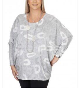 Malissa J, Grey Loopy Jacquard Long Sleeve Top, One Size