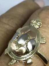 14k SOLID REAL GOLD TURTLE GOOD LUCK LUCKY Ring Tri yellow white rose  7 5 6 8 9