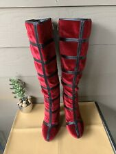 "Cape Robbin Cranberry Cruch Velvet Knee High 4"" Boots Faux Leather Stripes Sz 7"