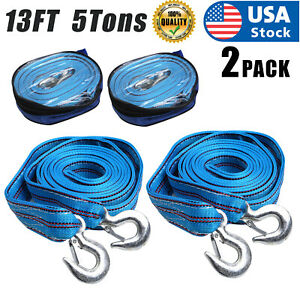 2PACK 5Tons Car Tow Cable Towing Strap Rope with Hooks Emergency Heavy Duty 13FT