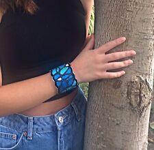 handmade blue cuff bracelet made by Tarahumara women