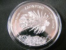 1 oz Silver 2019 Barbados Lionfish Round Coin Caribbean Lion Fish in Airtite
