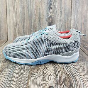 Pearl iZumi 5053 Gray Blue Mesh Cycling Sneakers Lace Up Clips - US Women's 10.5