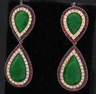 18K YG 6.02CT diamond ruby & jade day & night drop dangle earrings