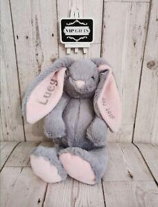 Personalised Bunny Teddy Plush ANY NAME Baby1st Birthday Christening PK