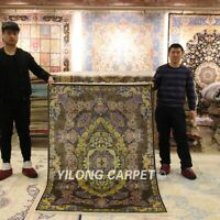 YILONG 4'x6' Persian Silk Area Rug Hand knotted Home Decoration Carpet Z150A