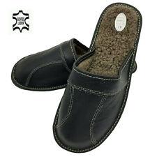 Herren Leder Winter warme Hausschuhe Schafwolle Pantoffeln Schaffell bis Gr. 48