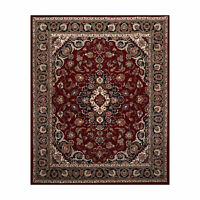 7'10'' x 9'11'' Hand Knotted Wool Kashaan Traditional Oriental Area Rug Burgundy