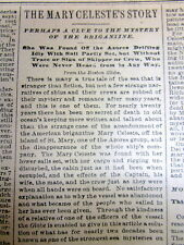 """1896 newspaper with a Long detailed report of the """"ghost ship"""" MARY CELESTE"""