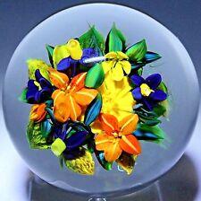 MARVELOUS Rick AYOTTE Seven FLOWER BOUQUET Art Glass PAPERWEIGHT