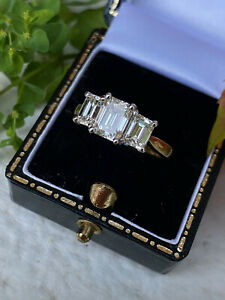2.20ct Three Stone Emerald Cut Diamond Ring 18ct Yellow Gold