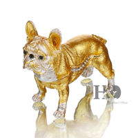 Crystal Metal Handmade Bulldog Trinket Boxes puppy Figurines Wedding Lady Gifts