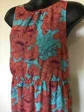 Size 16/18 Smart Flattering Blue Dark Coral Floral Maxi Dress