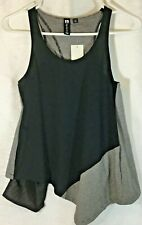Boy Meets Girl Open Back Mesh Pockets Stripe and Solid Asymmetrical Tank Top XS
