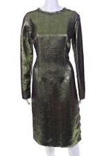 Lanvin Womens Metallic Sheath Dress Green Purple Size Italian 40 LL19LL