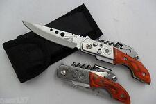 Petit Couteau de Secours Multifonctions Lame Acier 7,5 cm Manche en Bois 10 cm