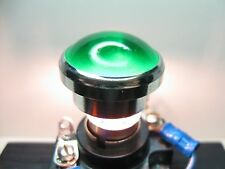 """Vintage Dialco ? Panel Mount Indicator Light Lens Cap 1"""" Green Smooth Frosted"""