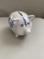 "Holland Delfts Blue Hand Painted Mini Piggy Bank Coin Windmill 4.5x3"" Ceramic"