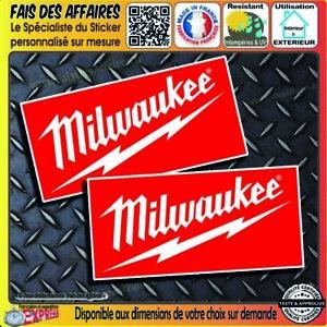 lot 2 Stickers autocollant Milwaukee outillage bricolage adhésif tool decal