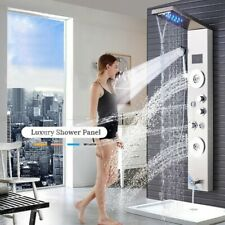 Luxury Silver LED Bathroom Waterfall Shower Faucet Spa Massage Panel Column