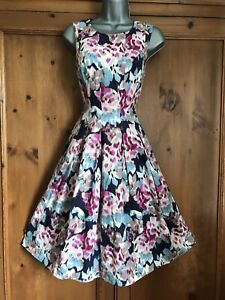 GORGEOUS MONSOON SIZE 10 TEAL PINK FIT & FLARE 50s Wedding OCCASION DRESS Party