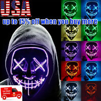 Halloween Scary Mask Cosplay Led Light Up Costume Mask The Purge Movie USPS US