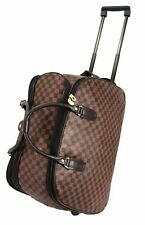 New Checked Wheeled Holdall weekend luggage travel Cabin Trolley Case Carry Bag