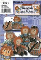 Raggedy Ann Andy Pattern Simplicity 5868 New  OOP