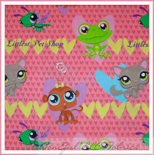 BonEful Fabric FQ Cotton Quilt PINK Cat Frog Pet Shop Heart Flower Monkey Dragon