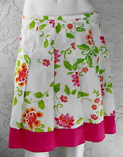 OUTLOOKS Flair Pleated White Skirt Bright Pink Green Orange Flowers Size 11 Nice