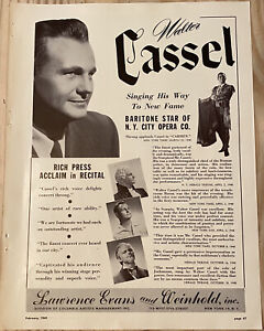 Walter Cassel Authentic Vintage 1949 Print Ad N.Y. City Opera Co. Actor Baritone