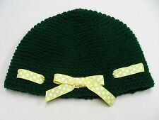 GREEN WITH BOW - HAND KNITTED - ONE SIZE  STOCKING CAP BEANIE HAT!