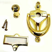 "NEW 3 7/8"" x 2 1/8"" Bright Brass Door Knocker with Viewer and Name Plate DK-976"