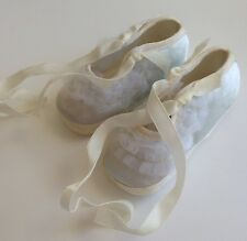 Vintage NB Baby Slippers Blue Satin Lacy With Love Fancy Decor